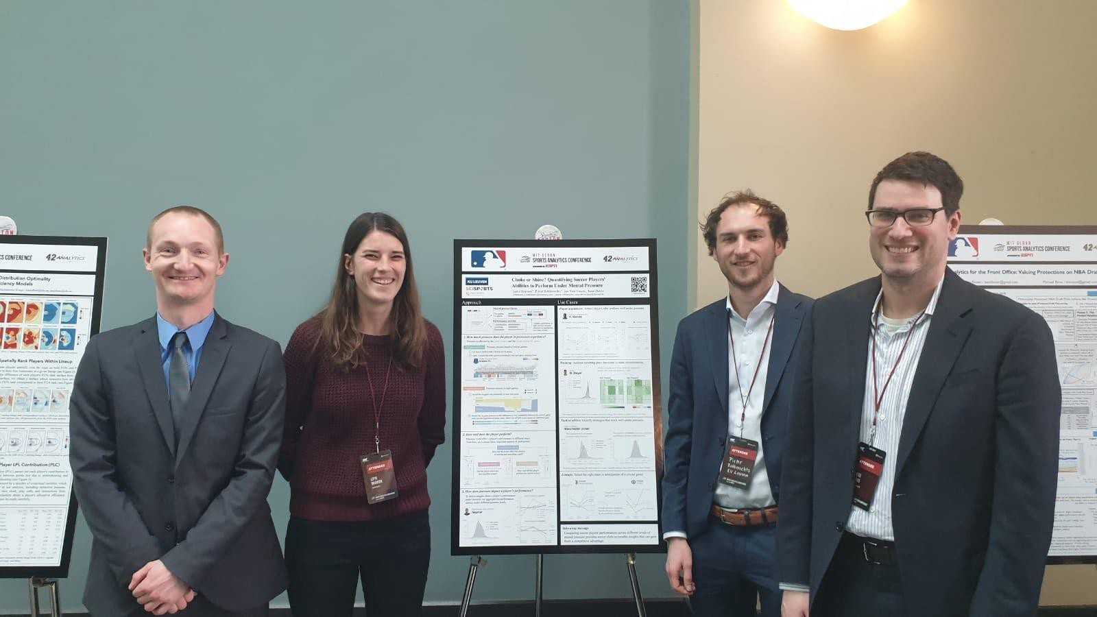 Left to right: me together with my co-authors Lotte Bransen, Pieter Robberechts and Jesse Davis at the 2019 MIT Sloan Sports Analytics Conference in Boston.